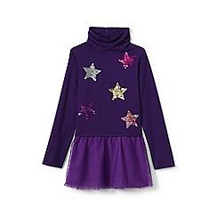 Lands' End - Girls' purple roll neck embellished legging top