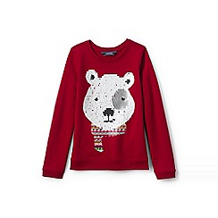 Lands' End - Girls' red embellished sweatshirt