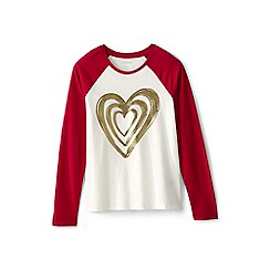 Lands' End - Girls' black glitter heart raglan tee