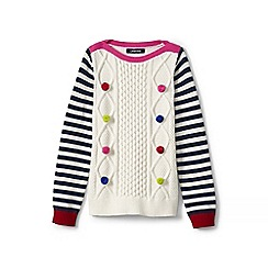 Lands' End - Girls' white cable pom-pom jumper