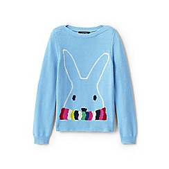 Lands' End - Girls' blue boatneck cotton blend bunny jumper