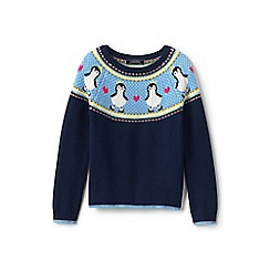 Lands' End - Girls' white long-sleeve penguin jumper