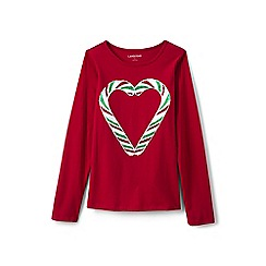Lands' End - Girls' red embellished graphic tee
