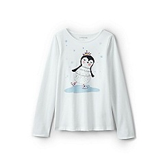 Lands' End - Girls' white embellished graphic tee