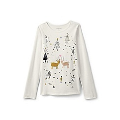 Lands' End - Girls' cream embellished graphic tee