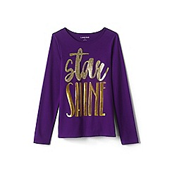 Lands' End - Girls' purple embellished graphic tee
