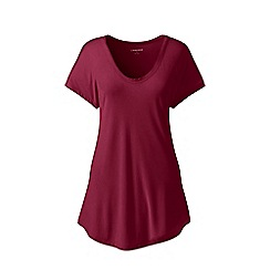 Lands' End - Red short sleeves bamboo jersey scoop neck t-shirt