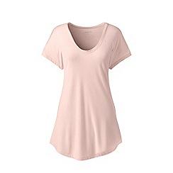 Lands' End - Pink short sleeves bamboo jersey scoop neck t-shirt
