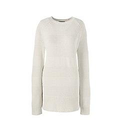 Lands' End - Cream  lofty cotton tunic jumper