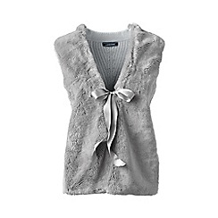 Lands' End - Grey merino/cotton fur front waistcoat
