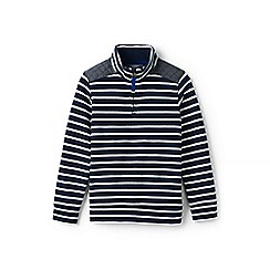 Lands' End - Boys' blue toddler striped half-zip sweatshirt