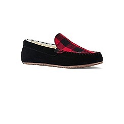 Lands' End - Red suede check moccasin slippers