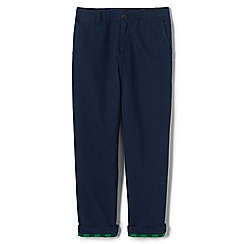 Lands' End - Boys' blue iron knee flannel-lined cadet trousers