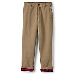 Lands' End - Boys' beige iron knee flannel-lined cadet trousers
