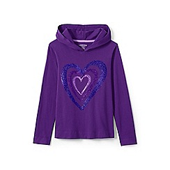 Lands' End - Girls' purple graphic super-t hoodie