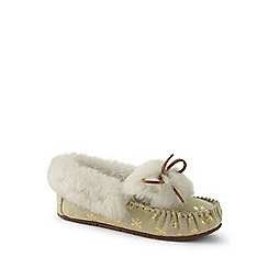 Lands' End - Gold snowflake shearling moccasin slippers
