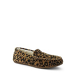 Lands' End - Multi leopard print suede moccasin slippers