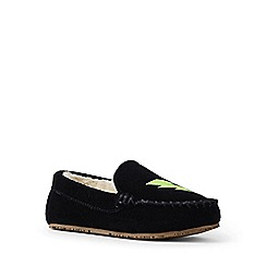 Lands' End - Black embellished moccasin slippers