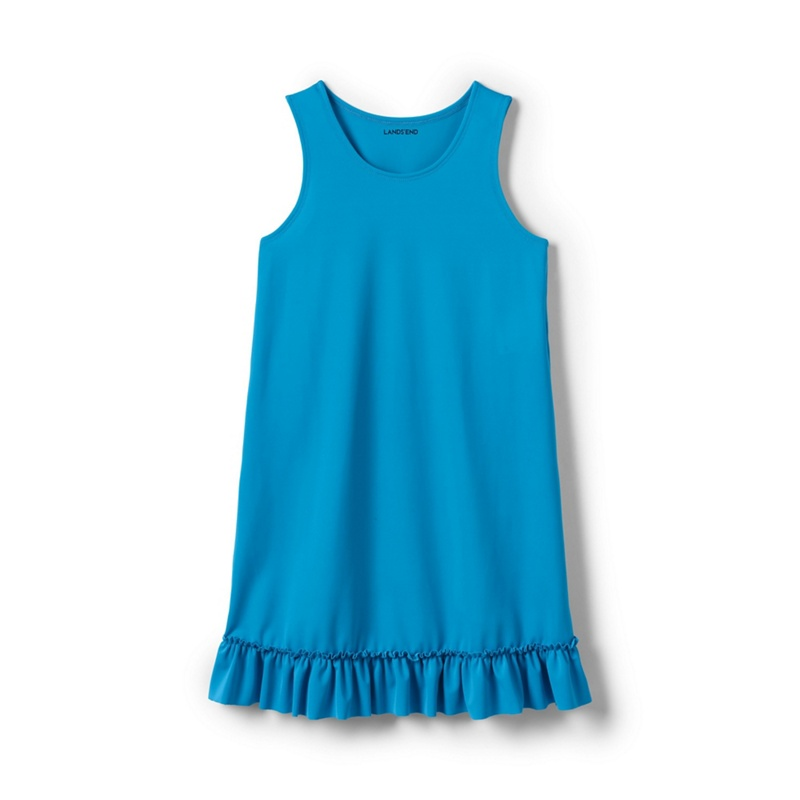f48fa89abffb8 Lands' End Blue Girls' Ruffle Hem Swim Cover-Up, Turquoise | £7.00 ...
