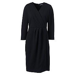 Lands' End - Black three-quarter sleeve ponte wrap dress