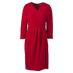 Lands' End - Red three-quarter sleeve ponte wrap dress