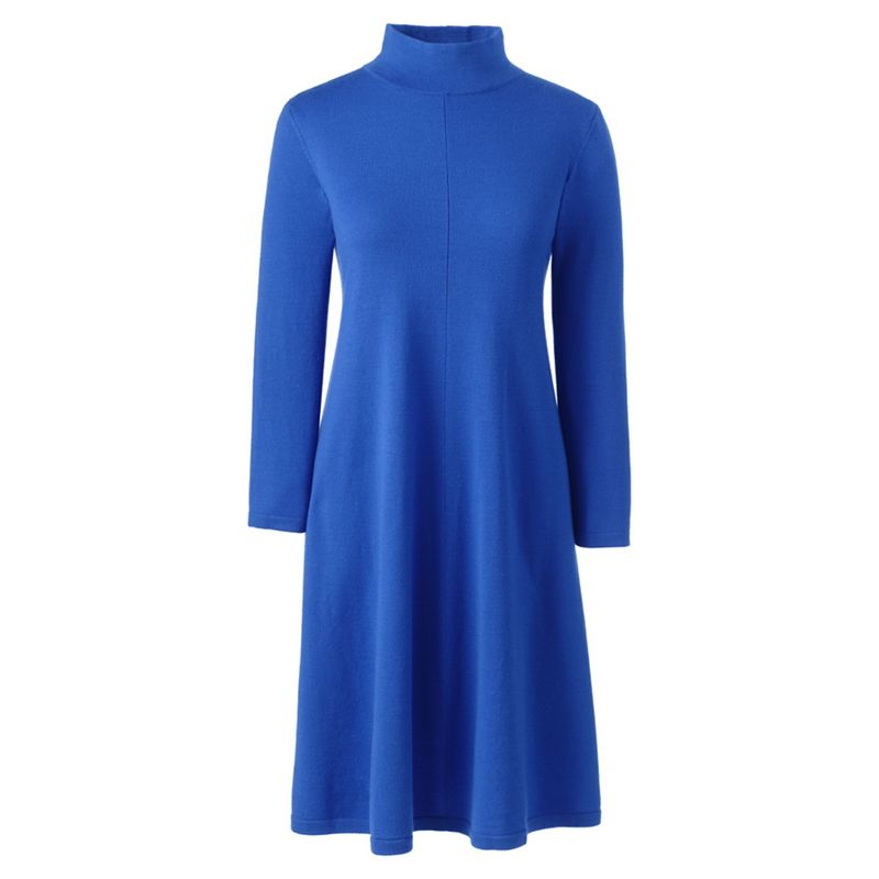 Lands End Blue merino wool polo neck knitted dress