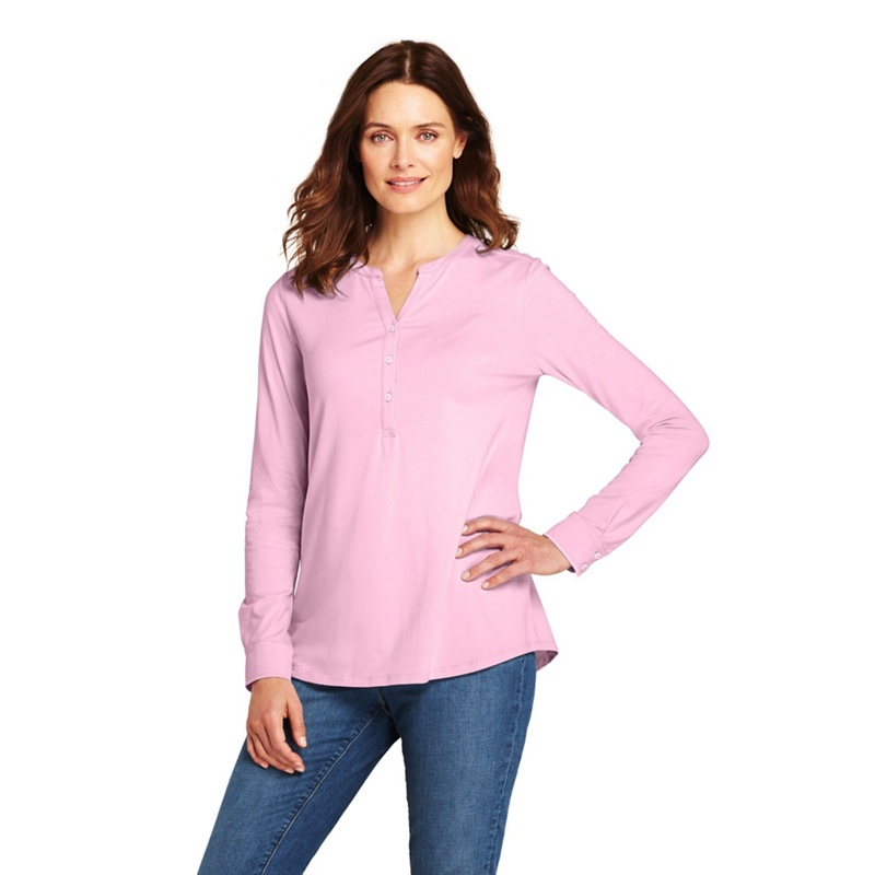 8f1730aeb98 Lands' End Pink cottonmodal henley tunic top, Women's, Pale Pink ...