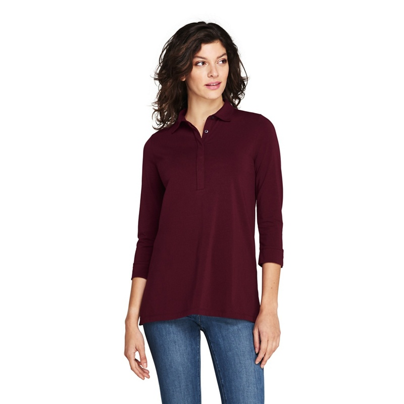2f5447bac7f Lands' End Red petite cottonmodal polo tunic top, Women's | £28.00 ...