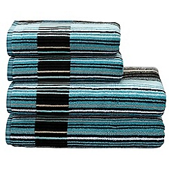Christy - Aqua 'Capsule Stripe' towels
