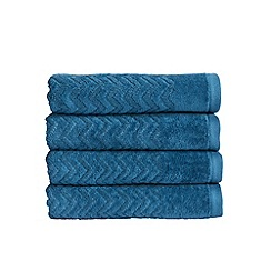 Christy - Petrol 'Chevron' 550gsm cotton bath towel