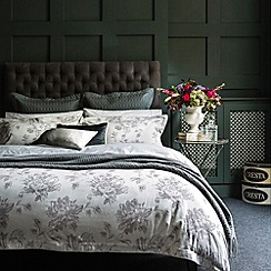 Christy - Pewter 'Etched Peony' bed linen
