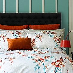 Christy - Tangerine 'Osaka' oxford pillow case pair
