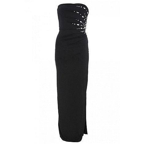 Quiz - Black side split maxi dress