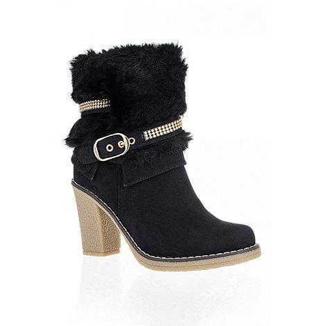 Quiz - Black Faux Fur Diamante Ankle Boots