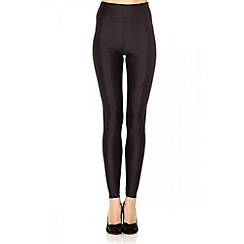 Quiz - Black Shiny High Waist Disco Leggings