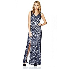 Quiz - Navy And White Lace Split Maxi Dress