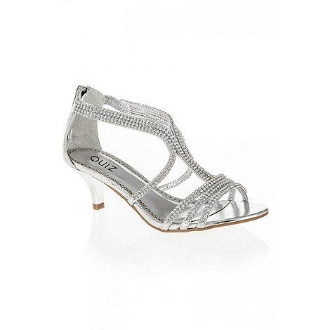 Quiz - Silver Multi Strap Diamante Sandals