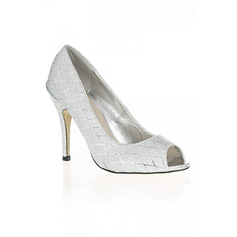 Quiz - Silver Diamond Print Shimmer Peep Toe Shoes