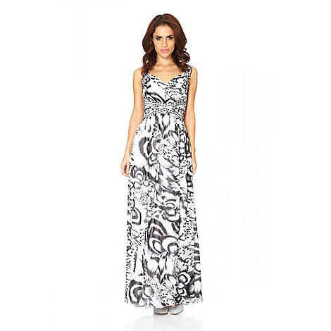 Quiz - Cream And Black Chiffon Feather Print And Jewel Maxi Dress