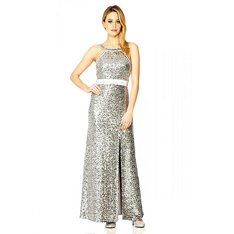 Quiz - Silver Sequin Split Maxi Dress