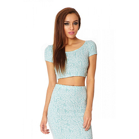Quiz - Aqua And White Jacquard Floral Crop Top