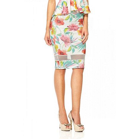 Quiz - Cream Floral Print Crepe Midi Skirt