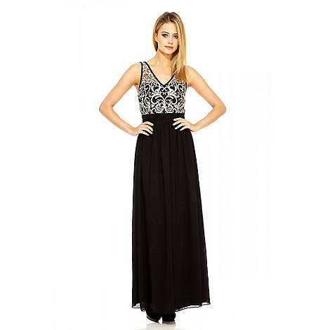 Quiz - Black And Silver Embellished Maxi Dress