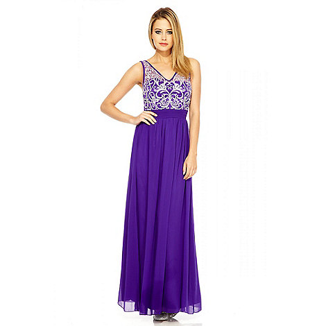 Quiz - Purple And Silver Embellished Maxi Dress