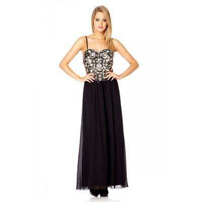 Black And Gold Swirl Sequin Jewel Maxi Dress