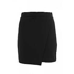 Quiz - Black Wrap Short Skirt