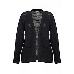 Quiz - Black Acrylic 2 Pocket Cardigan