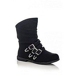 Quiz - Black 3 Buckle Ankle Boots