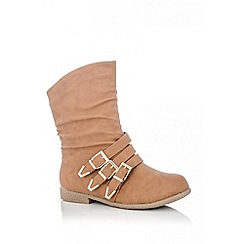 Quiz - Tan 3 Buckle Ankle Boots