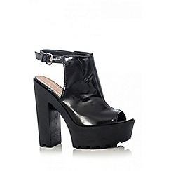 Quiz - Black Cut Out Back Platform Heels